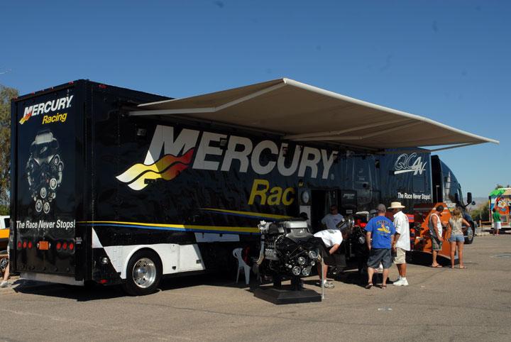 The Mercury truck in position at the Lake Havasu Boat Show. Photo credit: Bob Brown.