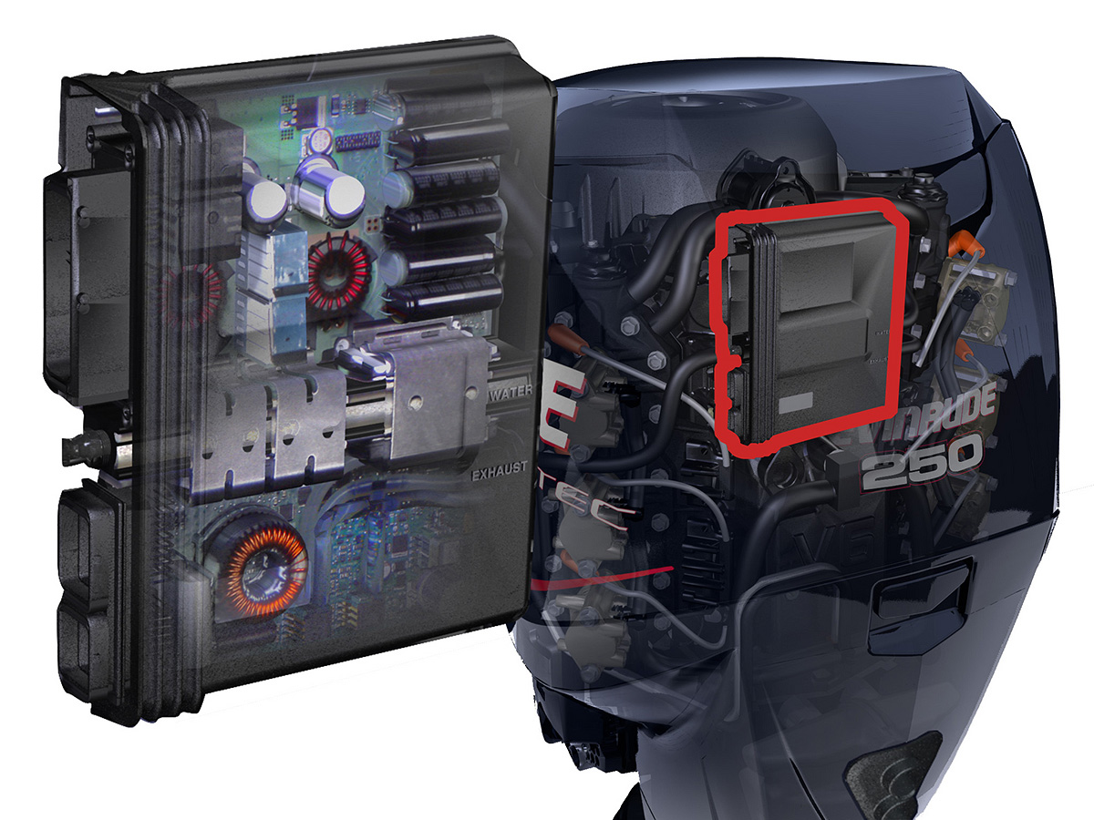 Scream And Fly Magazine The Genesis Of Evinrude E Tec Outboard Capacitor Modeling Capacitive Discharge Ignition Cdi Circuit Engine Management Module Is Just That It Controls Electronic Systems Entire Not Fuel System